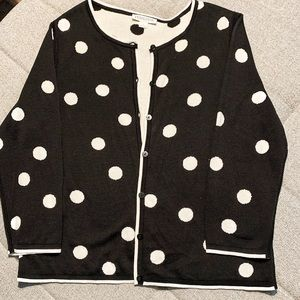 Pendelton black/white polka dot cardigan